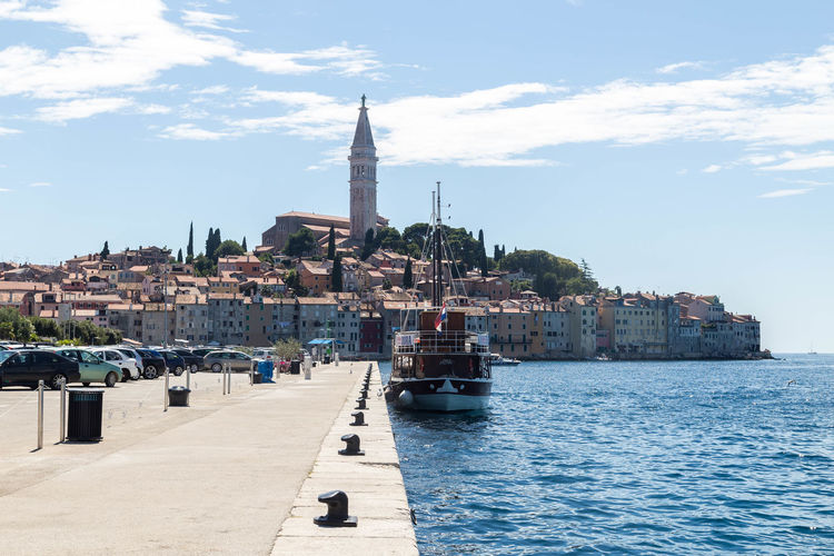 Rovinj, Croatia... Church City Cityscape Croatia Rovinj Rovinj Croatia Rovinj, Croatia Travel Architecture Boat Boats Building Building Exterior Built Structure City Croatian City Croatian Town Day Sea Sky Spire  Tower Travel Destinations Water Waterfront