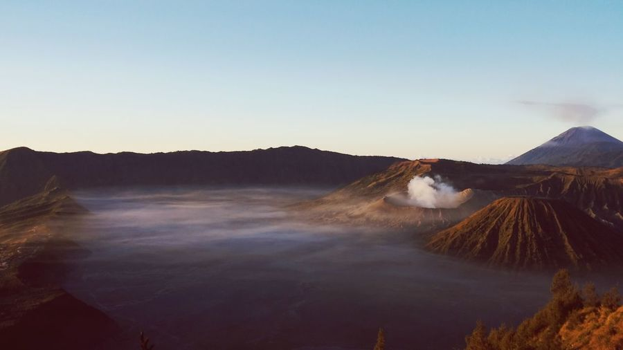 Bromo Mountain Volcano Awake Natural Beauty Dawn Of A New Day Sunlight East Java INDONESIA