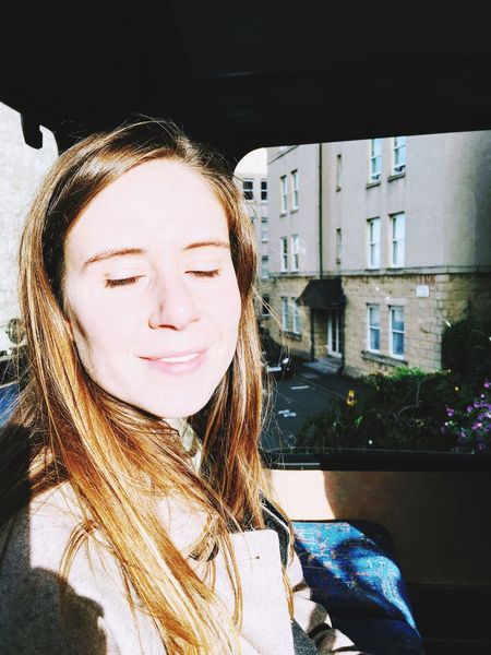 Bus TopDeck Portrait Portrait Of A Woman Sun Bright Eyes Closed  Day Real People Front View Love Yourself