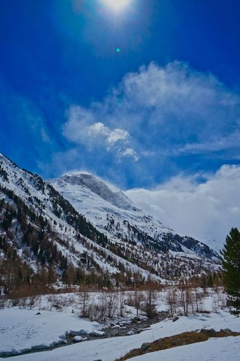 Morteratsch Glatsch Snow Cold Temperature Sky Cloud - Sky Tranquility Scenics - Nature Mountain Nature Landscape White Color Snowcapped Mountain Outdoors Tree Plant No People Beauty In Nature Environment Covering Tranquil Scene