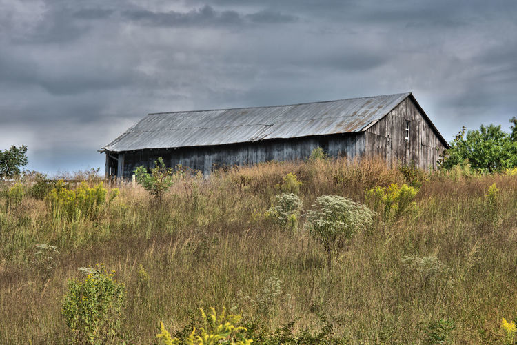 Abandoned house on grassy field against cloudy sky