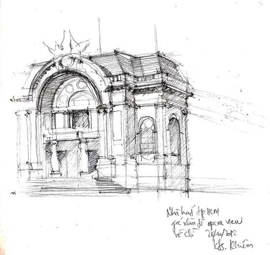 [Khiem Sketch] The Opera House in Saigon. Sketch, Architecture, Saigon