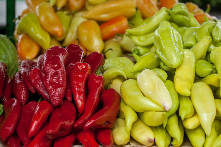 Colorful Chili Peepers For Sale At Market Stall