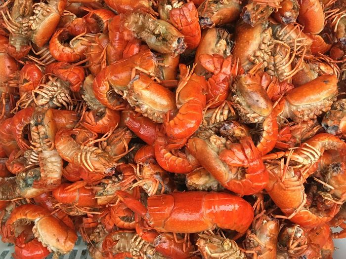 Cooked crayfish, also called as crawfish, are prepared at a restaurant in Singpore. Crayfish Crawfish Food Restaurant Cook  Dishes Seafoods Boiled Crayfish Singapore Steamed  Cooking Color Palette