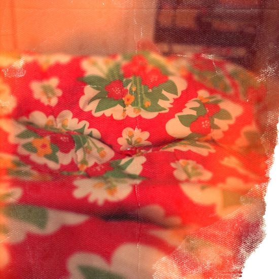 Old duvet. Red Floral Pattern Indoors  No People Lo-fi