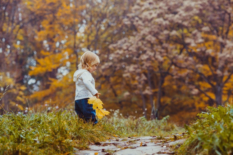 Side view of a boy in autumn