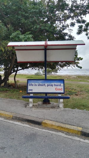 No People Road Day Outdoors Religion Propaganda Bench Seat Curacao (willemstad) Netherlands Antilles