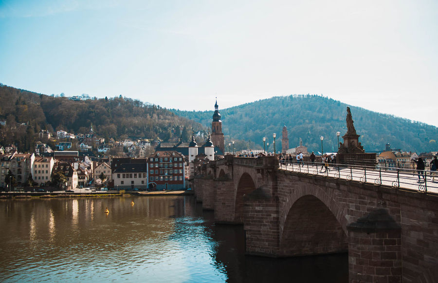 Heidelberg Architecture Beauty In Nature Bridge - Man Made Structure Building Exterior Built Structure City Clear Sky Connection Day Mountain Mountain Range Nature No People Outdoors River Scenics Sky Tree Water Waterfront