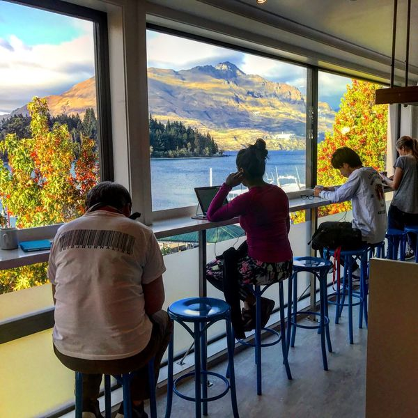 Indoors  People Queenstown Nz Mountain Lake Kitchen YouthHostel Table Chair Sitting