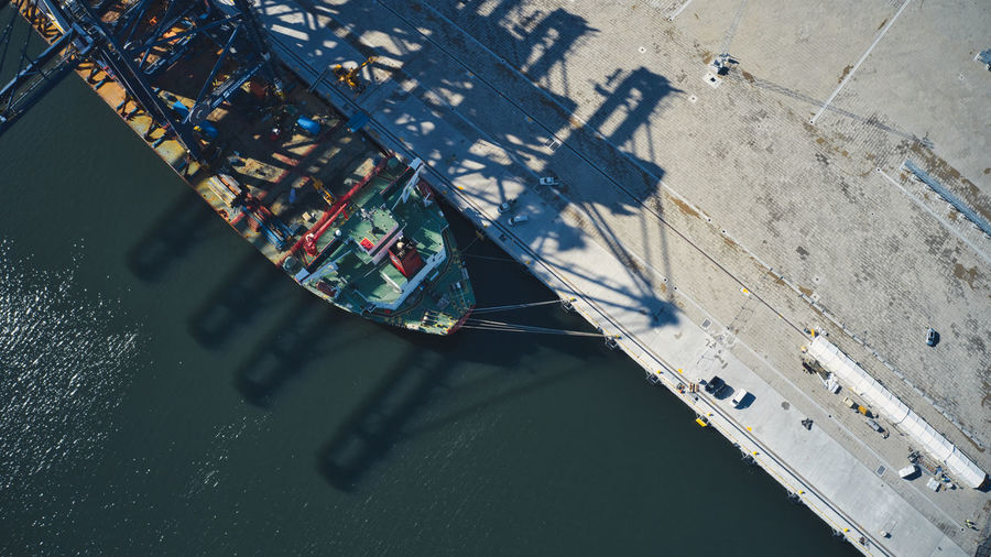 High angle view of a ship with cranes