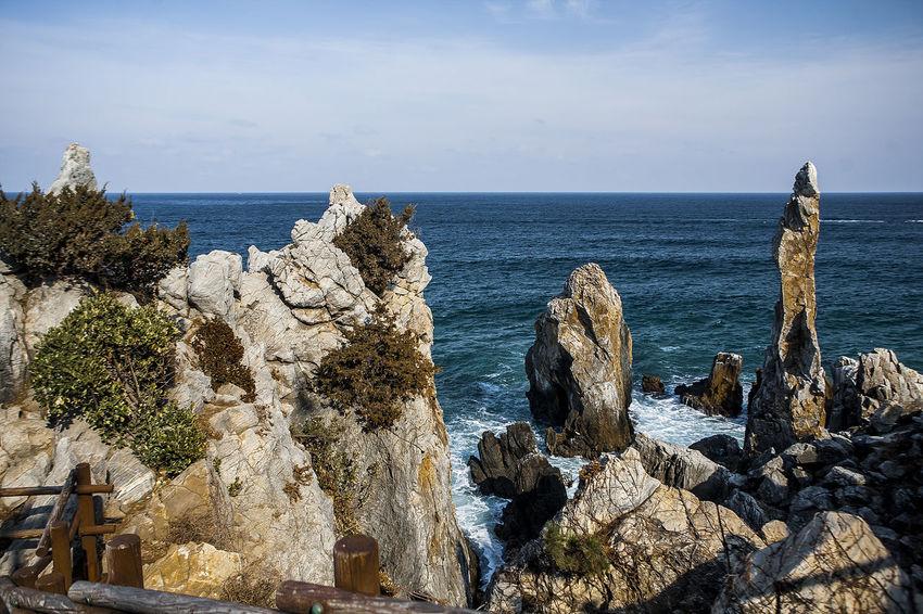 Cheuam Beach Chotdaebawi Samcheok Neungpadae Winter Sea East Sea Coast Seaside South Korea Korea