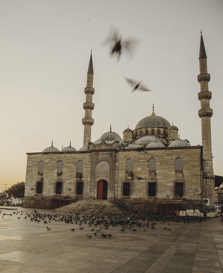 Mosque Against Clear Sky At Sunset