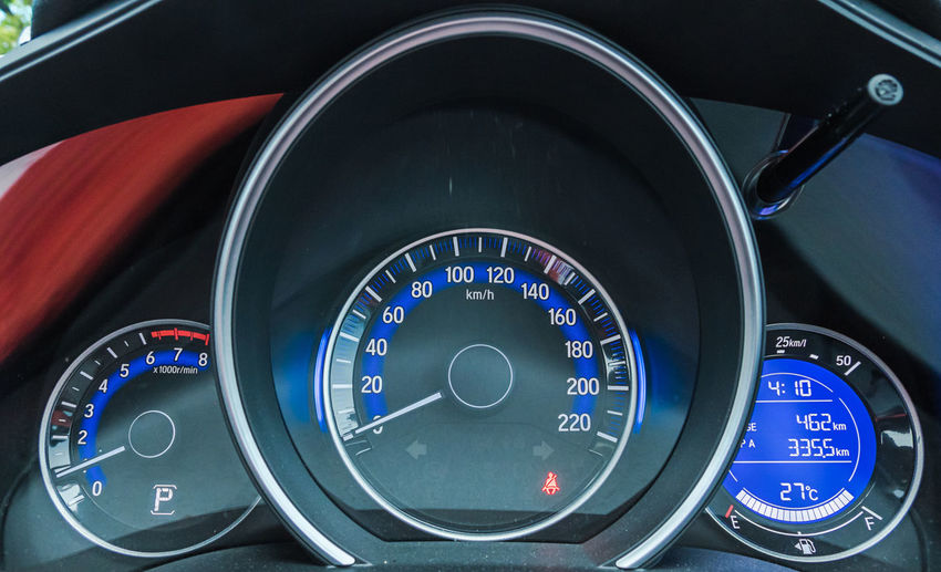 Close-up of speedometer in car