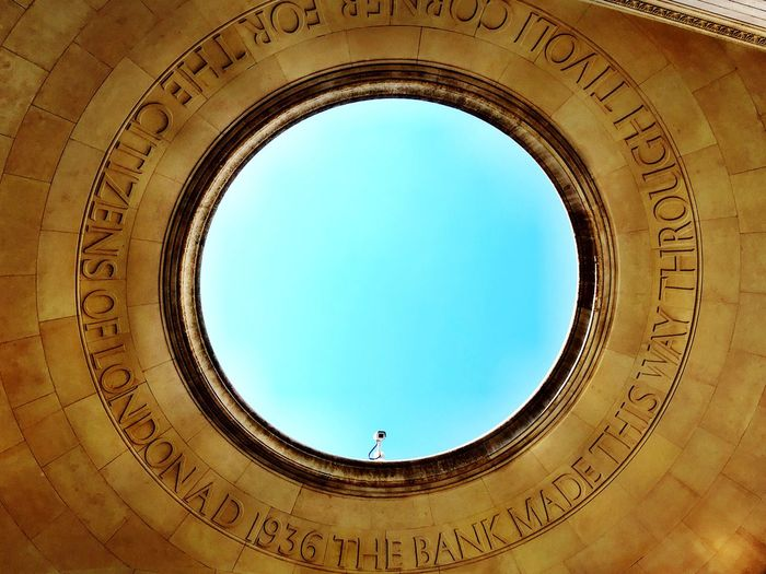 Tivoli's Corner, London Banks Hole In The Roof Princes Street Building Interior London Nobody City Breaks Sky Blue Colour Image British Old Building  Architectural Detail View Of Sky Through Hole In The Roof AD 1936