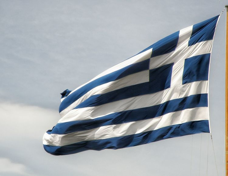 National Flag National Sign Greece Athens Athens, Greece National Emblem White Blue Photography In Motion