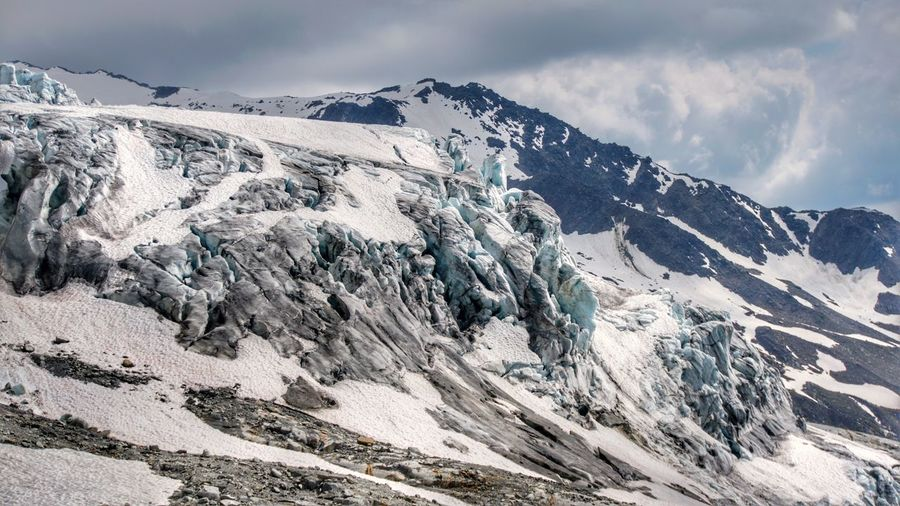 Scenic view of snowcapped mountains against sky. glacier neer albert premiere.