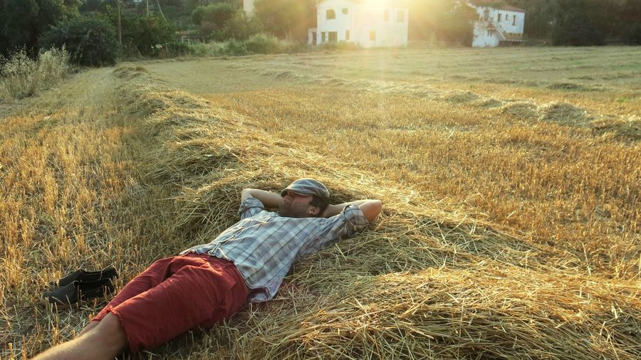 Man napping while lying on hay during sunset
