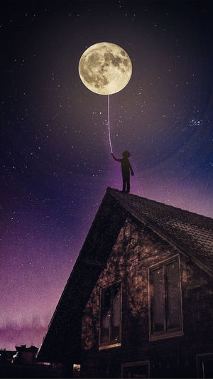 Low angle view of person on roof against moon at night