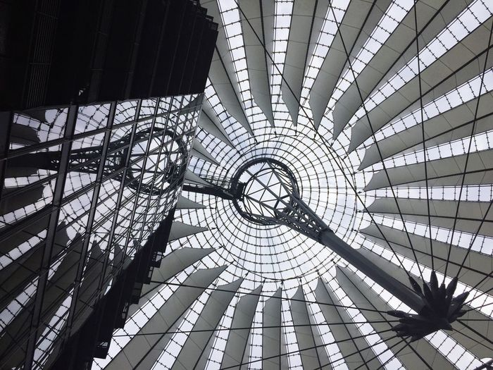 Low angle view of sony center in city