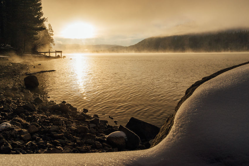 Winter sunrise at Donner Lake, California. California Donner Lake Lakefront Steam Truckee  Beauty In Nature Day Docks Fog Lake Nature No People Outdoors Scenics Sky Sunrise Sunset Tranquil Scene Tranquility Tree Water