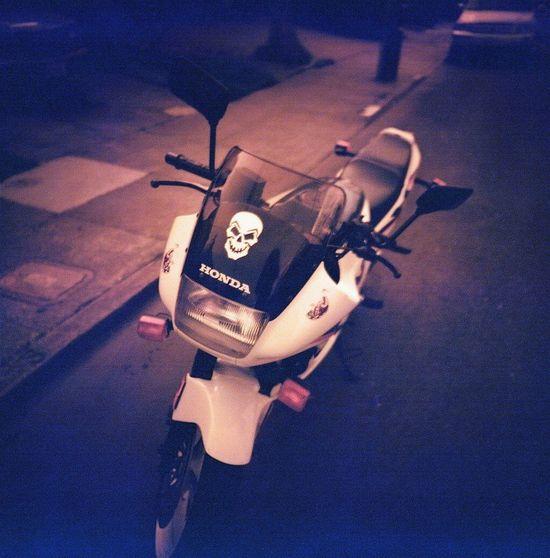 My Hood >>>> Motorcycle Honda Motorcycle Skull Real Film Redscale Lca 120 Koduckgirl