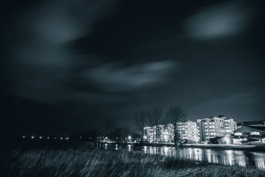 The Answer, My Friend, Is Blowin' In The Wind | Monochrome HDR Slow Shutter Astrophotography Stars Night Lights Nightphotography Night City Cityscapes Kristianstad Enjoying Life Blackandwhite Monochromatic Monocrome Lights Water Eye4photography  Showcase: January