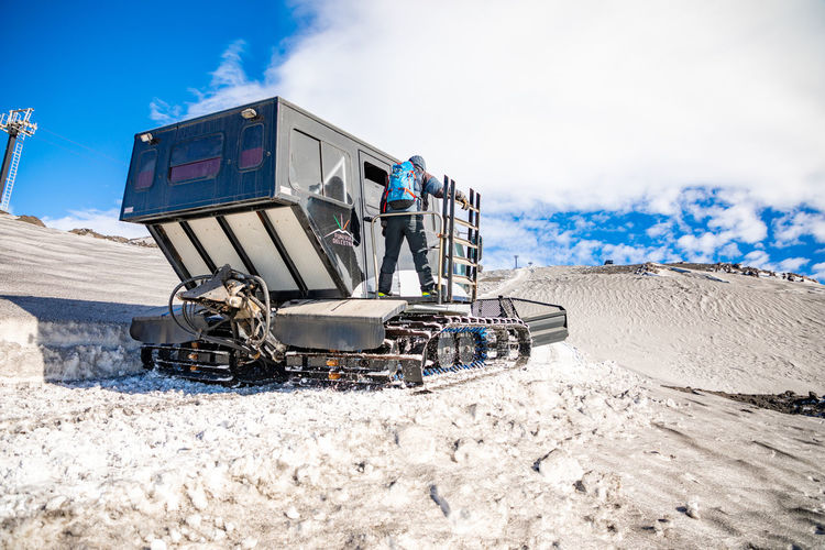 Etna Volcano Crater Mountain Winter Snow Sicily Italy Ash Snowcat Occupation Cloud - Sky Day Nature Sky Machinery Industry Working Cold Temperature Men Construction Industry Construction Machinery Outdoors People Transportation Land