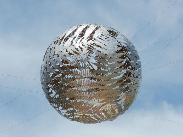 Wellington, New Zealand ArtWork Cloud - Sky Flying Ball Hanging Ball Metallic Silver Fern