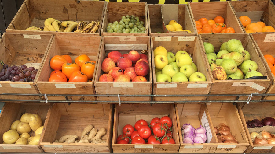 Fruits in basket on market stall