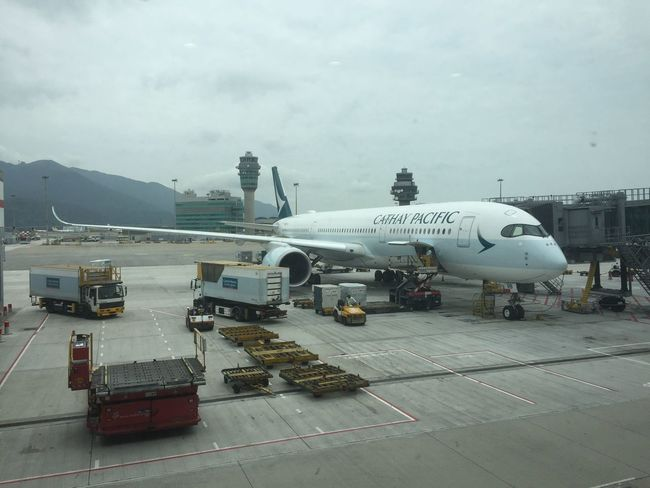 Transit Transfer Airport Airplane Cathay Pacific Sky HongKong Arrival Departure