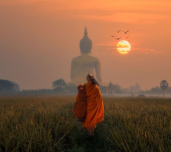 Rear view of monk walking towards buddha statue on field against sky during sunset