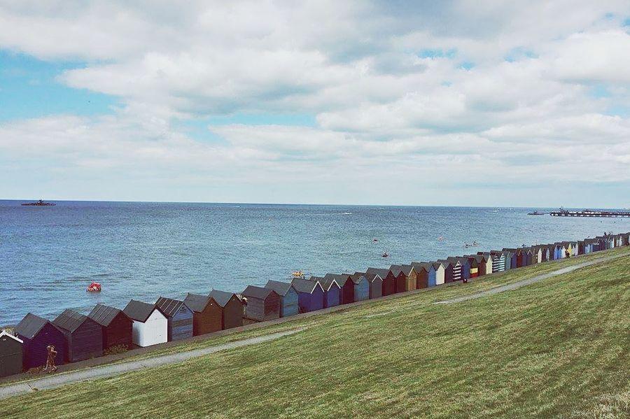 Beach Beachhuts Outdoors England🇬🇧 Hometown Childhood Sky Sea Pebbles HerneBay Memories Travel Destinations