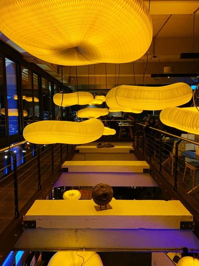 Lights Yellow Business Indoors  Illuminated Business Finance And Industry Architecture Lighting Equipment Restaurant City Ceiling Night