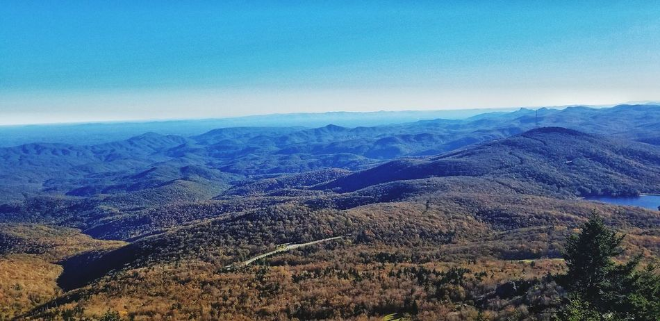 majestic views from atop grandfather mountain Height Landscape Blue Blue Sky Valley Beauty In Nature Calm Relaxing Blue Winter Cold Temperature Sky Landscape Majestic Dramatic Landscape Mountain Peak Mountain Ridge Geology Tranquil Scene