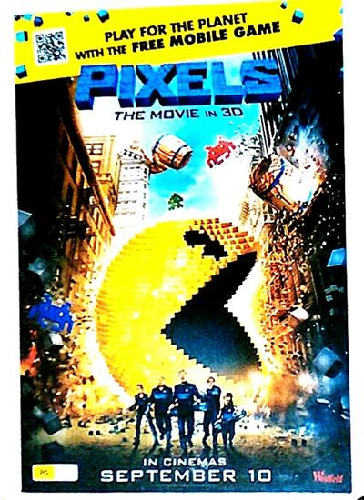 Pixel Pixelporn Pixels 3D Movie 3D Movies 3 Dimensional Pacman Pac Man. Pac Man Face Pac Man PacmanArt Pacman Art PIXELS In 3D Poster Movie Poster Posters 3D MOVIE At The Flicks Illuminated Signs At The Movies Movies (: At The Cinema Cinema Poster Cinema Posters Movie Posters Movieposter Check This Out Movies!  Billboard