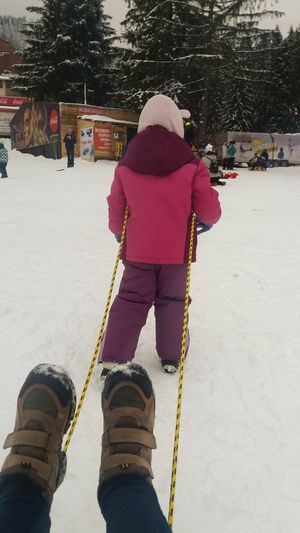 winter fun Winter One Person Rear View Day Full Length Leisure Activity Outdoors Lifestyles Snow People Real People Cold Temperature Childhood Sport Warm Clothing