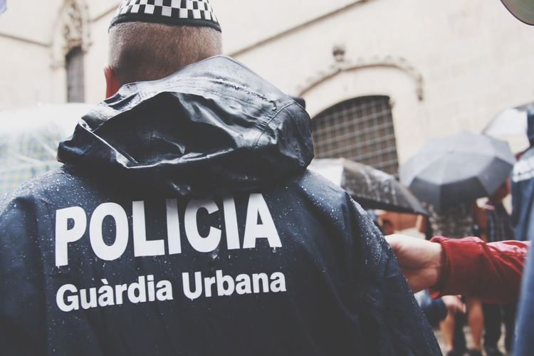 Policeman Proximity Barcelona Portrait Of A Man