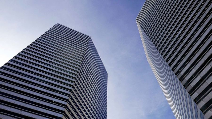 Low angle view of the gateway buildings against sky
