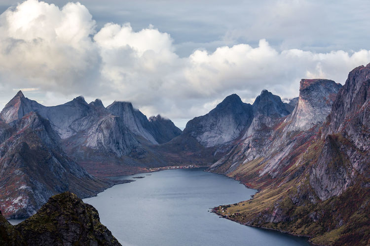 Mountain Panorama in Reine Beauty In Nature Cloud - Sky Clouds And Sky Day Landscape Mountain Mountain Range Nature No People Outdoors Physical Geography Range Scenery Scenics Sky Tranquil Scene Tranquility First Eyeem Photo
