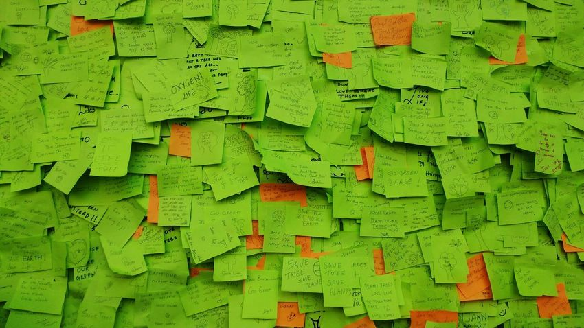 First Eyeem Photo Outdoors Street Streetphotography Kalaghoda Backgrounds Full Frame No People Sticky Notes Trees Social Issues