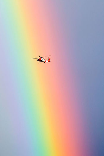 Rescue Helicopter Air Vehicle Day Flying Helicopter View  Low Angle View Mid-air Multi Colored Nature No People Outdoors Rainbow Rescue Sky Transportation