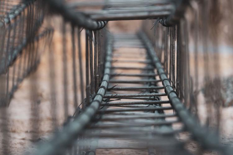 Close-up of metal bridge
