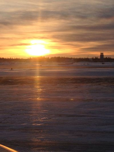 This is what an icy runway looks like. #ice #alaska #runway #sunrise #latergram