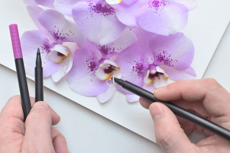 Cropped image of hands holding felt tip pens on flowers