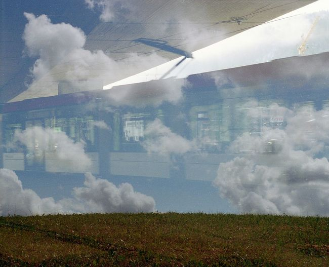 Film Swap: Tram-Line to Heaven Film 35mm Film Film Swap SWAP Tram Clouds Sky Lithuania Norway Nature Analogue Photography Multiexposure  Surreal