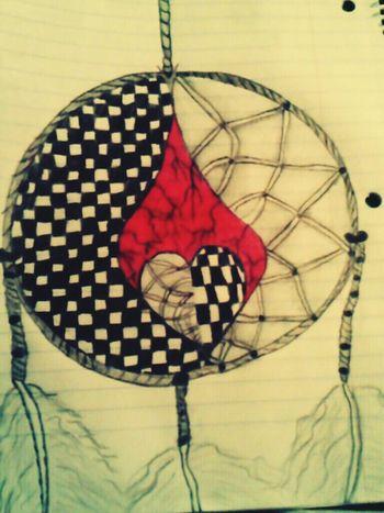 My Art, Drawing, Creativity Dreamcatcher Feathers Checkered Pattern Yinyang Balance 2nd Eyeem Photo