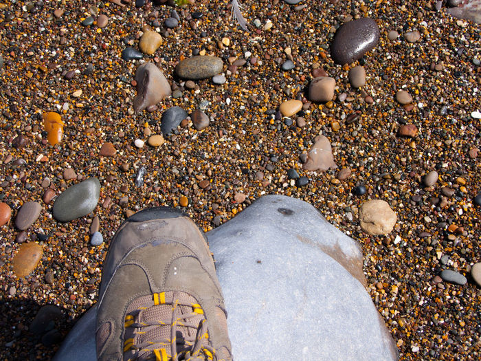 High angle view of shoe on rock at beach