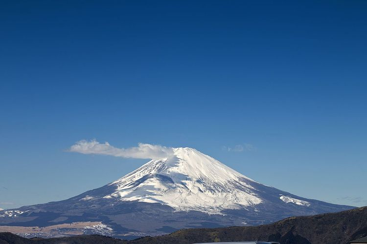Scenic view of fuji mountains against blue sky
