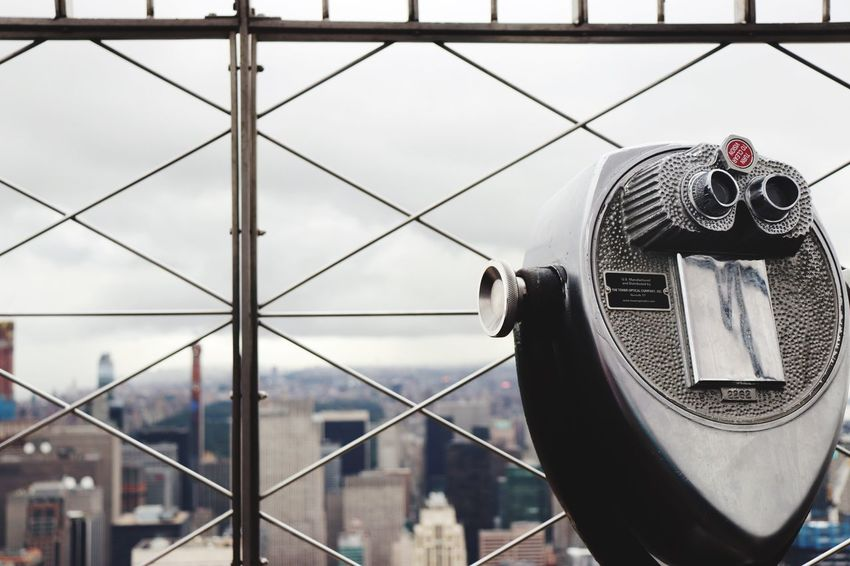 Skyline New York Manhattan Empire State Building EyeEm Selects Architecture Built Structure Building Exterior Coin Operated Day Binoculars Sky Focus On Foreground Metal Nature Outdoors Security No People Coin-operated Binoculars City Travel Destinations Close-up Transportation Travel Rear View