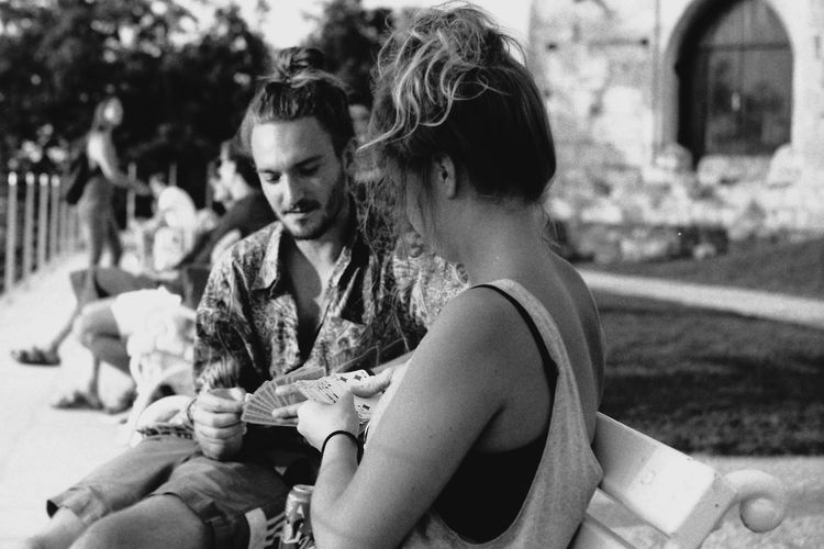portrait people and places Togetherness Portrait Film Photography People Girl Shoulder Couple Monochrome Playing Cards Blackandwhite Streetphotography Real People Life